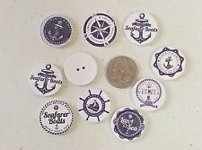 "Lot of 10 WHITE NAUTICAL 2-hole Wood Flat Buttons 1"" 25mm Scrapbook Craft (1097)"