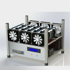 6 GPU Open Air Mining Case Computer ETH Miner Frame Rig 6x Fan & Temp Monitor