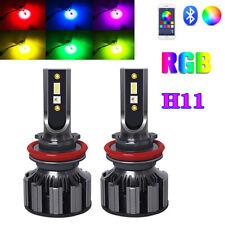 Colorful RGB LED H11 RGB Headlight Kit Fog Lights APP Bluetooth Control Lights