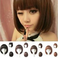 Short Straight Bob Hair Full Wigs Women Cosplay Party Wig Costume~