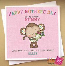 Glamorous MONKEY Mum Daughter Granddaughter Niece Personalised Birthday Card