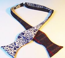 Blue Wool Tweed Self tie Bow tie/Liberty print lining. Diamond or Traditional.