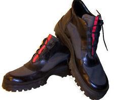 STYLIZED combat jump boot shoe Black grey red racing stripe 45 11 12 mesh