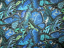 Butterfly Dramatic Butterflies Blue Green Cotton Fabric FQ