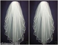 New White ivory 2 layers Wedding Bridal veil elbow Length Satin Edge with comb