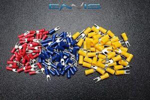 150 PK 10-12 14-16 18-22 GAUGE VINYL SPADE CONNECTORS 50 PCS EA #6 TERMINAL FORK
