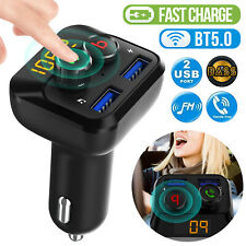 Bluetooth5.0 FM Transmitter Handsfree Car Kit Stereo Bass MP3 Player USB Charger