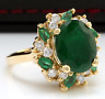5 ct Oval Emerald Sim Diamond Women's Cocktail Ring 14K Yellow Gold Over Silver