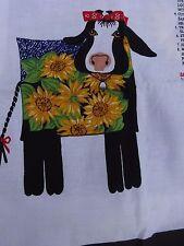Country Cow Pillow - 100% Cotton  Blue Denim, Sunflowers NEW Cut Assemble Sew