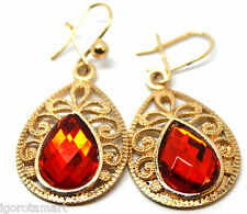 Women Gold Plated Round Red Bead Hoop Drop Dangle Earrings Jewelry