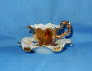 Vintage Occupied Japan Petal Flower Shaped Miniature Floral Cup & Saucer RARE