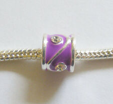 1 Silver Plated Enamel Charm Bead For European/ Charm Bracelets - Purple