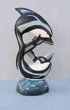 "Tropical Nautical Dolphin Wood Carving Statue Island Decor,Tiki Bar 20"" tall"