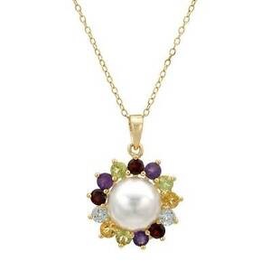 Lovely Necklace with Faux Pearl & Precious Stones in 14K/925 Gold plated Silver