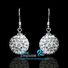 18k white gold GF 925 sterling silver ball earrings made with swarovski