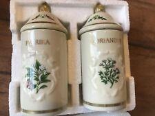 The Lenox Spice Garden Paprika & Coriander Fine Porcelain Jars, New In The Box
