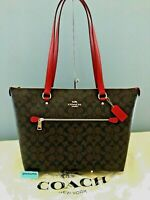 Coach 79609 SIGNATURE GALLERY TOTE LARGE Brown True Red Leather Zip Top NWT $328
