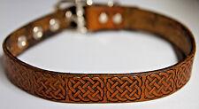 Celtic design locking lockable leather collar choker Choose color