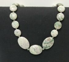 Precious Stone Necklace Green Marble Effect Costume Jewellery Preowned (800DJ)