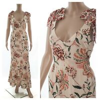 ex M&S Marks & Spencer Cream Buttons Floral Summer Holiday Maxi Dress