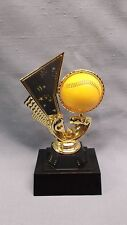 spin softball trophy black base Free lettered plate