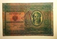 100 Kronen ,Austria Hungary banknote,1912,Ultra Rare stamp !!Top