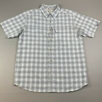The North Face Men's L Short Sleeve Plaid Modal Green White Button Up Shirt Used