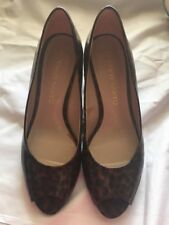 Franco Sarto VOYAGE Women's Brown Animal Print Wedge Heel Size 6.5M