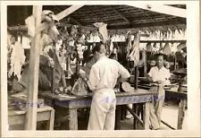WWII Pacific Island Open Air Market Butcher Shop Hanging Beef Quarter Meat Photo