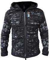 Men's Skull Printed Black Cotton Razorcut Long Hood Jacket Festival Goth Hoodie