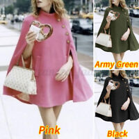 Womens High Neck Cape Cloak Dress Elegant Loose Casual Jacket Coat Swing Outwear