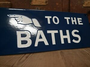 Enamel Advertising Sign To The Baths Victorian Wash House Public Vintage 3/3