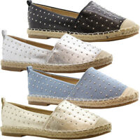 Ladies Womens Flats Slip On Summer Studded Espadrilles Pumps Sandals Shoes Size