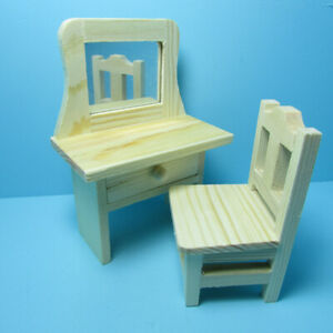 Dollhouse Miniature Wood Unfinished Vanity with Mirror & Drawer and Chair
