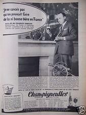 PUBLICITÉ 1958 CHAMPIGNEULLES BIÈRE DE FRANCE COLLIER OR - ADVERTISING