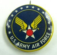 Vintage Pin Back Button United States Army Air Force Blue Gold Wings Star