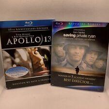 Lot Blu Ray Apollo 13 & Saving Private Ryan (Blu-ray Dvd) Condition is Used