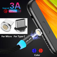 Magnetic LED 2M Micro USB Type-C Fast Charger Data Cable For Samsung Huawei HTC