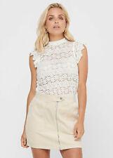 B20120436 Damen JDY by Only Top High-Neck Spitzen Shirt Blumen Muster weiß