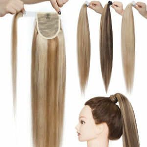 Remy Real Human Hair Ponytail Extensions Wrap On Clip In Pony Tail Highlight AU