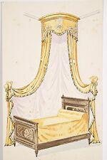 Petit pochoir déb. XX° Lit à Baldaquin, Tissu drapé jaune, décoration chambre