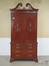22413:  Carved Mahogany Georgian Style TV Linen Press Armoire