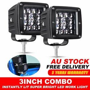 "2x 3"" Cube LED Work Light Bar Square Combo Pods Lamp For Jeep Wrangler JK TJ YJ"