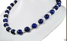 Natural 8mm Dark Blue Lapis Lazuli Real White Pearl Necklace 18""