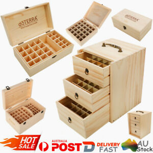 Aromatherapy Essential Oil Storage Box Wooden Case Container Holder 25-75 Slots