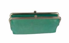 Hobo International Lauren Double Snap Kiss Lock Wallet Clutch Blue Leather