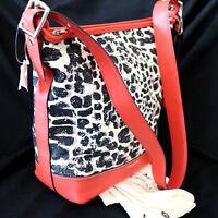 NWT COACH Ocelot Cheetah Black/Red Duffle Crossbody Shoulder Bag Purse NEW $348