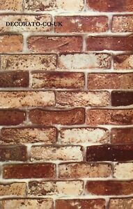 VINTAGE BROWN BRICK WALLPAPER STICKY BACK PLASTIC VINYL FILM PVC SELF ADHESIVE