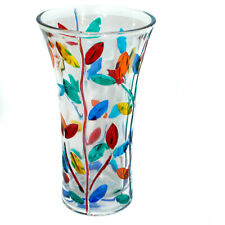 Murano Glass Vase Multi Coloured Flower Hand Made Millefiori 21cm High
