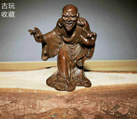 Old Antique Tea Pet Pure Solid Copper Arhat kanakavatsa handwork chinese Statue